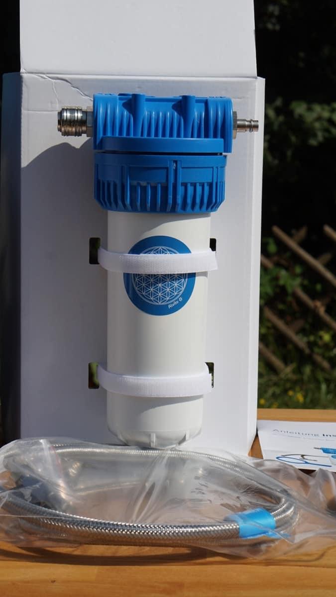Spezial Kombi 5: Alvito Einbaufilter 2.1 Basic inkl. roter Duplex Filterkartusche und Einbau-Hexagonwasser Wirbler Inline 1.8 2