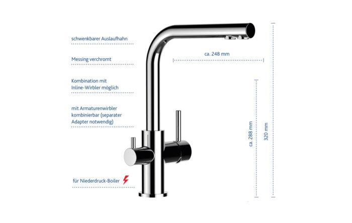 4 Wege Wasserhahn Paolo ND Chrom - für Niederdruck-Boiler 2