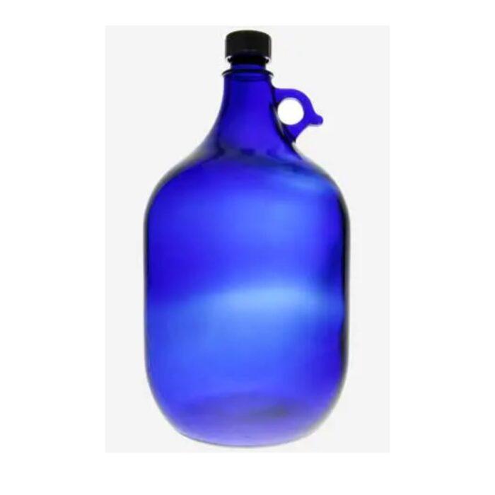 Blaue Glasflasche 5,0 Liter mit goldener Lebensblume 1